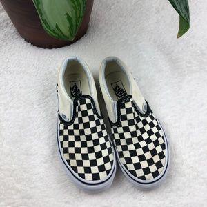 Vans Cream Black Checkered Slip On Shoes